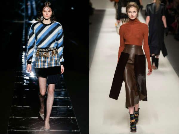 Модные юбки разных фактур осень-зима 2015-2016