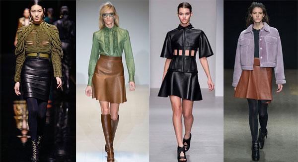 Модные кожаные юбки осень-зима 2015-2016
