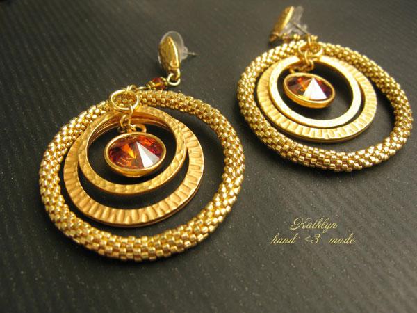 Плетеные серьги-кольца, фото