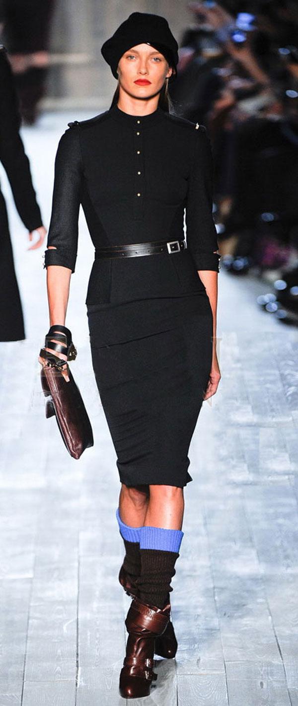 С чем носить черную юбку-карандаш зимой
