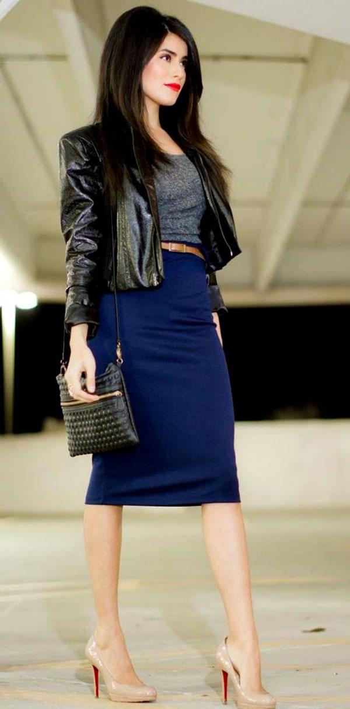 С чем носить синюю юбку-карандаш
