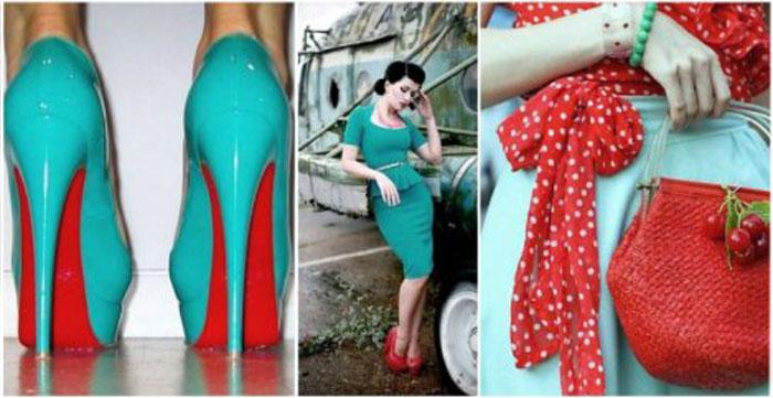 Сочетание бирюзового и красного цвета в одежде