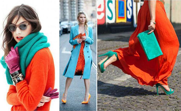Бирюзовый и оранжевый цвет в одежде