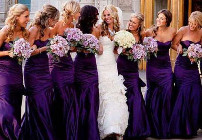 Фиолетовые платья для подружек невесты