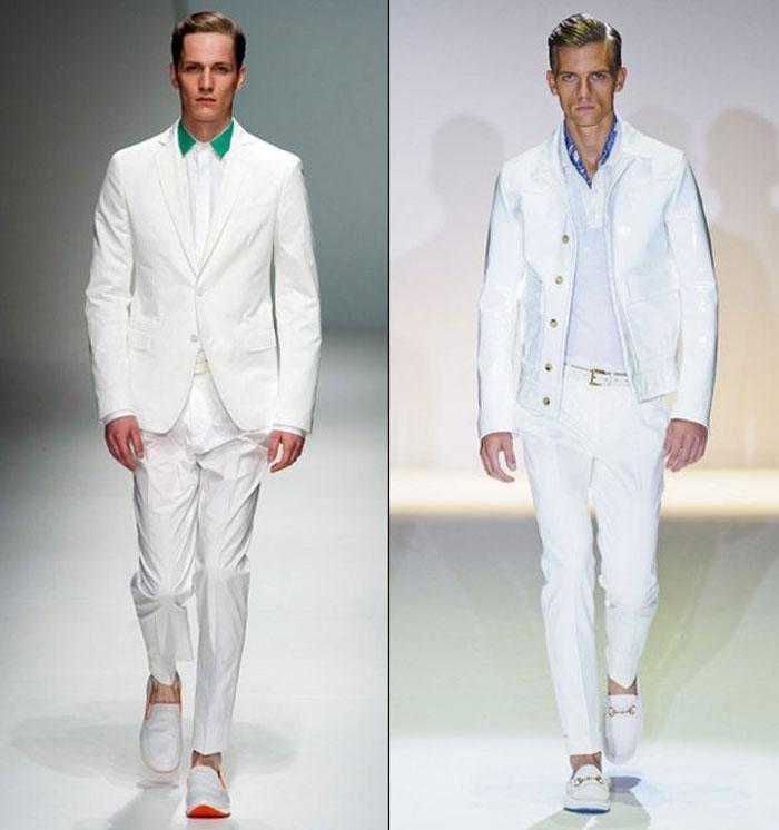 Белые мужские брюки весна-лето 2016