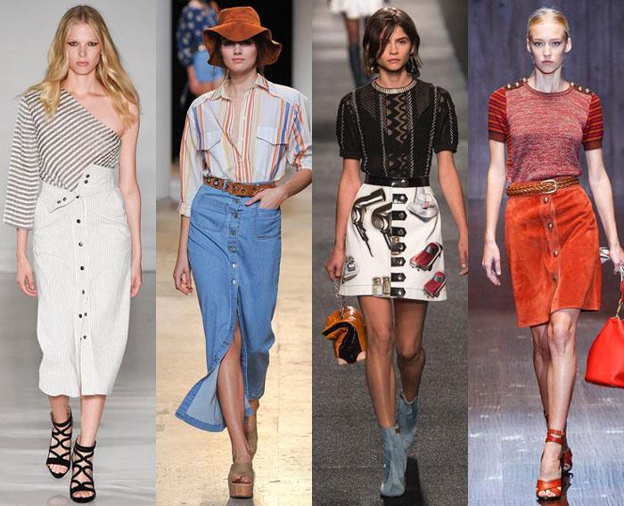 Модные летние юбки на пуговицах фото 2016